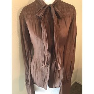 Club Monaco Pussy Bow Blouse LS Top Soft Brown S